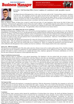 OUR IN-HOUSE EXPERT OPINION IN BUSINESS MANAGER MAGAZINE K.Varadan - Chief Operating Officer, Factory Compliance & Consultation & Audit, Aparajitha Corporate Services