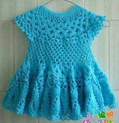 Free Crochet Patterns: Free Crochet Patterns: Baby Dress II - Everything For Babies Crochet Dress Girl, Baby Girl Crochet, Crochet Baby Clothes, Crochet Dresses, Crochet Woman, Baby Dress Pattern Free, Baby Dress Patterns, Crochet Patterns, Free Pattern