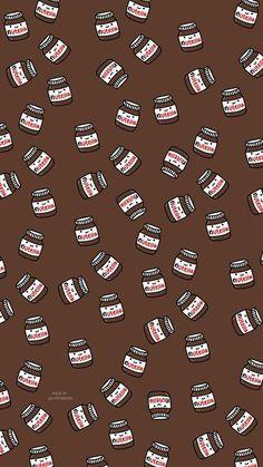 Nutella - My Wallpaper Cute Food Wallpaper, Cartoon Wallpaper Iphone, Cute Patterns Wallpaper, Cute Disney Wallpaper, Aesthetic Pastel Wallpaper, Kawaii Wallpaper, Cute Cartoon Wallpapers, Wallpaper Ideas, Fabric Wallpaper