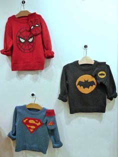 Superhero sweaters for this Fall's blockbuster movies - Batman, Spiderman and Superman with matching mitts at GapKids Holiday 2012  Mia would love that spiderman jumper! :)