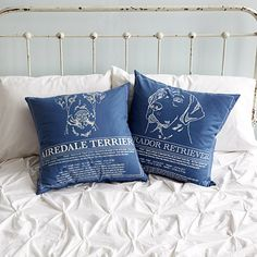 UncommonGoods: Dog Blueprint Pillows. Cozy up with your pup's finer points with this plush double-sided pillow. Hand screen printed profiles and headshots of your favorite breed adorn the covers of this hand sewn design, while 1950s blueprint-inspired details bring his background to life. Numerous breeds available.