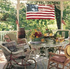 Vintage Country Living - Octagonal Porch - Country Living Can you guess what year this photo was featured? Backyard Retreat, Ponds Backyard, Fresco, Building A Porch, French Country Living Room, Decks And Porches, Front Porches, House With Porch, Outdoor Furniture Sets