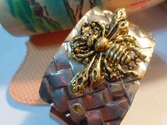 Very Cute Gold Tone Bee On Silver and Copper by 7thHeavenSilver, $12.00