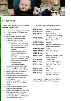 Daily Montessori schedule for a 2 year old from http://www.parkviewmontessori.com/2years.html