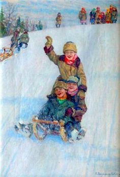 Skating From Mountain by Nikolai Bogdanov-Belski
