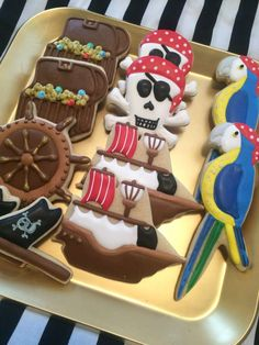 Fun decorated cookies at a pirate birthday party! See more party planning ideas… Pirate Birthday Cake, Pirate Party, Pirate Theme, Birthday Cookies, Pirate Baby Shower Ideas, Fête Peter Pan, 4th Birthday Parties, 3rd Birthday, Birthday Ideas