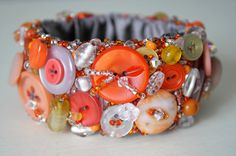 Cuff Bracelet, Orange UpCycled Vintage Buttons, Handmade Repurposed Jewelry on Etsy, $75.00