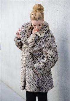 Vintage Snow Leopard Faux Fur 70s Coat
