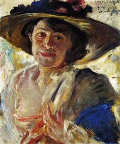 Woman in a Hat with Roses by Lovis Corinth
