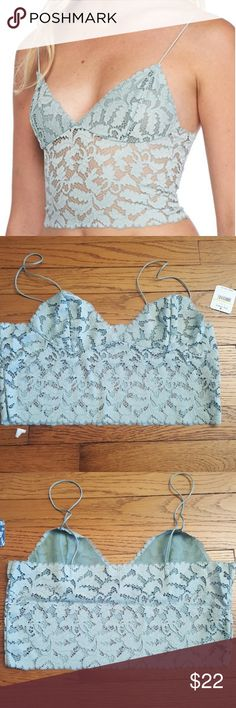 Free People Lacey Lace Mint Brami Pull over,  averagw figure fit, Free People Tops Camisoles
