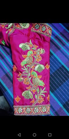 Discover thousands of images about Bead South Indian Blouse Designs, Simple Blouse Designs, Sari Blouse Designs, Bridal Blouse Designs, Peacock Embroidery Designs, Mirror Work Blouse, Maggam Work Designs, Fancy, Sleeve Designs