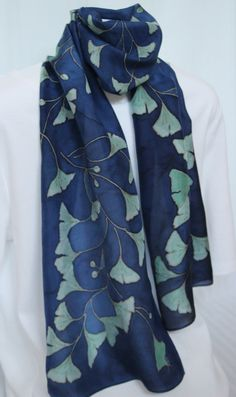 hand painted silk scarf in dark blue with green ginkgo leaves