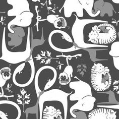 Piqué Parc - Safari Noir et Gris/ bordure Turquoise