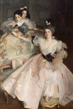 """Mrs Carl Meyer and her Children (1896).John Singer Sargent (1856‑1925).Oil on canvas.Tate. """"A later group portrait of flamboyant London culturata, Mrs Carl Meyer and her Children (1896), is as over-the-top as its patron. The gorgeous fabrics and intensity of this famous hostess is as celebrated in this painting as her lack of concern about her offspring, whose tenuous hold on her is graphically illustrated by Sargent's outrageous composition…most eccentric yet telling of any portrait..."""""""