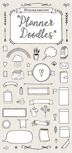 Download Bullet Journal Diary and Art Planner Vector Doodles by Mels Brushes