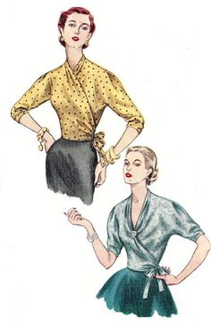 1950s Blouse Pattern Wrap Top Simplicity Uncut Vintage Sewing Womens Misses Size 18 Bust 36 Inches