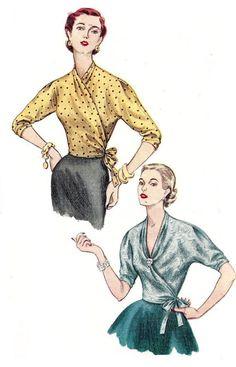 1950s Blouse Pattern Wrap Top Simplicity Uncut Vintage Sewing
