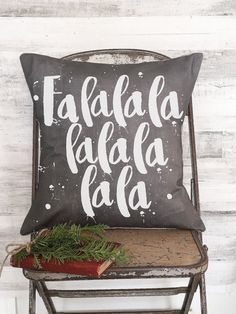 Pillow Cover Chalkboard Style FaLaLaLaLa by JolieMarche on Etsy
