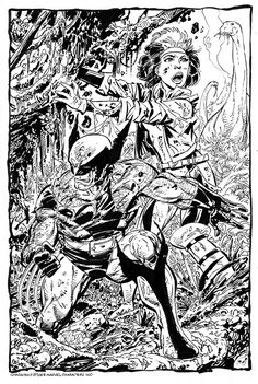 Wolverine & Rogue commission by John Byrne. 2008.