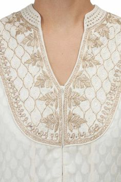 Cream gold embroidered kurta with palazzos available only at Pernia's Pop-Up…