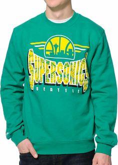 NBA Mitchell and Ness Seattle Sonics Green Crew Neck Sweatshirt at Zumiez : PDP