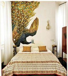 Amazing peacock mural