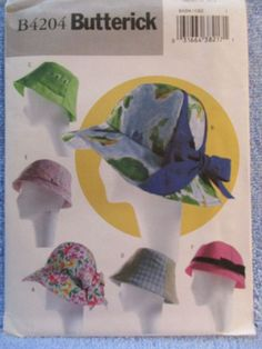 Butterick Pattern B4204 Misses Summer Hats All Sizes 6 Styles Uncut