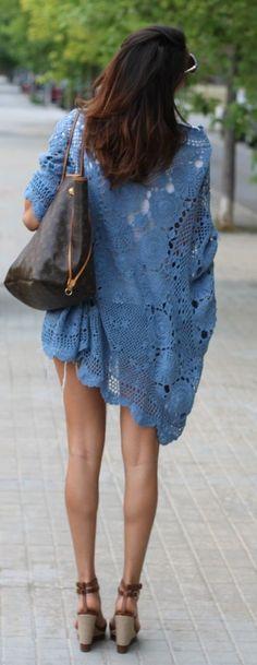 Blue crochet kimono cardigan and high heels !!!!!
