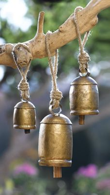 "Harmony Bells: Like the bells that have rung in Tibetan monasteries for thousands of years, this trio of Asian-inspired harmony bells help create an atmosphere of peace and tranquility. Set of 3 bells are cast of metal and have wooden clappers inside each for a gentle ring when rung by hand or the play of the wind. Each hangs on a jute cord. Bells measure from 7 3/4""H to 4""H. $15.99"