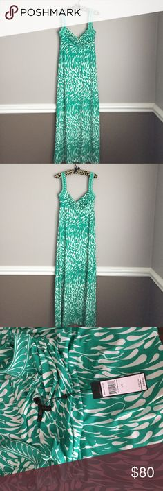 BCBG maxi gown Brand new with tags sadly never worn.  Poly spandex blend, machine washable.  Gorgeous soft & flowy BCBG dress.  Pet free smoke free posher. BCBGMaxAzria Dresses Maxi