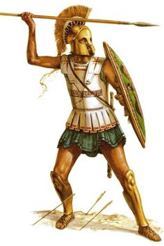 Hoplite Tribal Warrior, Greek Warrior, Fantasy Warrior, Ancient Greek Art, Ancient Rome, Ancient Greece, Greek History, Ancient History, Military Art