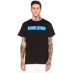 OFF-WHITE The End Tee T-Shirts ($226) ❤ liked on Polyvore featuring men's fashion, men's clothing, men's shirts, men's t-shirts and graphic tees