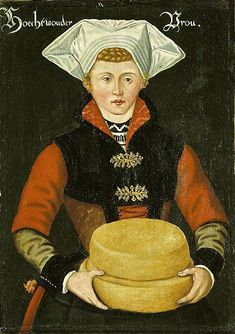 Woman with cheese, 16th century from a set of 24 panel paintings of Noord-Holland women currently on display in the Kaasmuseum (cheese museum) in Alkmaar, Netherlands. Who wants to carry around cheese?!?