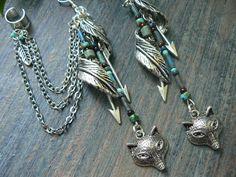 woodland ear cuff wolf ear cuff tribal ear cuff elfin feather cuff SET