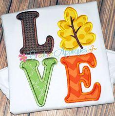 Love Leaf Digital Machine Embroidery Design 4 by Creativeapplique Applique Embroidery Designs, Machine Embroidery Applique, Diy Embroidery, Embroidery Files, Fall Applique Designs, Love Design, Halloween, Needlework, Creative