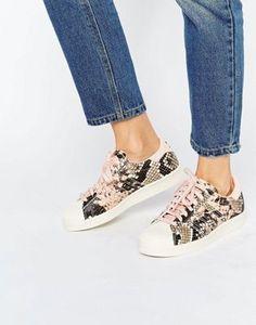 adidas Originals Pink Faux Snake Superstar Sneakers