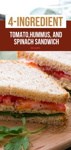 Hungry for a lunch that satisfies? This fresh and quick Tomato, Hummus, and Spinach sandwich is a cinch to put together! Clean Eating Dinner, Clean Eating Recipes, Lunch Recipes, Vegetarian Recipes, Cooking Recipes, Healthy Recipes, Hummus Sandwich, Veggie Sandwich, Roasted Garlic Hummus