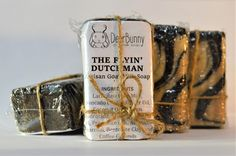 The Flyin' Dutchman Artisan Goat Milk Soap Masculine Activated Charcoal and Clay Soap with Coffee Grounds Mechanic Soap Handmade by DeerBunnySoaps on Etsy