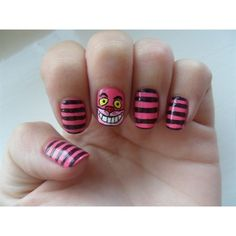 cheshire cat nails Nail Art Gallery found on Polyvore featuring nails, makeup and beauty