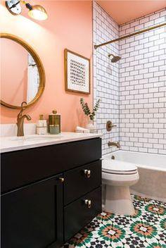 Dorm Bathroom, Remodel Bathroom, Bathroom Small, Colorful Bathroom, Master Bathroom, Blush Bathroom, Bathroom Towels, Bathroom Renovations, Modern Bathroom