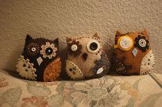 Steampunk Felt Owls by NiftyThingsbyAlisha on Etsy, $5.00
