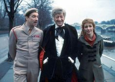 Brigadier Lethbridge-Stewart, the Doctor and Liz Shaw