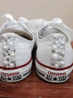 Items similar to Youth Pearl Converse / kids converse / white converse/ vintage / unique sneakers / pearl chucks / bling converse on Etsy Bride Converse, Converse Wedding Shoes, Converse Shoes, Wedding Sneakers, Custom Converse, Custom Vans, Zapatos Bling Bling, Bling Shoes, Tenis Tipo All Star
