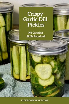 Easy  to make homemade pickles. Refrigerator Garlic Dill Pickles are delicious. They are easy to make and you don't need to have any canning experience to make these homemade pickles. Canning Dill Pickles, Garlic Dill Pickles, Pickled Garlic, Homemade Refrigerator Pickles, Crispy Dill Pickle Recipe, Easy Pickle Recipe, Homemade Pickles, Homemade Dog, Cucumber Recipes
