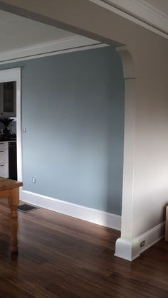 Living in the Rain Garden: The Living Room is Painted! - Sherwin Williams Amazing Grey - Benjamin Moore Mount Saint Anne - Blue Grey