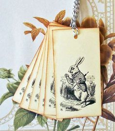 Tags Alice In Wonderland Rabbit Vintage Style Gift by bljgraves, $4.00