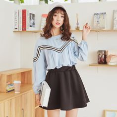 Korean Fashion - Cotton round neck top