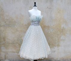 50s strapless wedding/prom/party tea length by circa1955vintage, $185.00