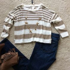 """Super cute cropped sweater Purchased from a local boutique. Brown and creamy white striped crop sweater. Slouchy shoulder with 3/4 sleeves. Approx 19"""" shoulder to hem. 100% acrylic. Size M. NWT, never worn. Boutique Sweaters"""