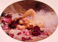"""beauty amid rose petals"" Louis Marie de Schryver"